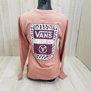 Vans Women's Pink Logo Shirt NEW Long Sleeve